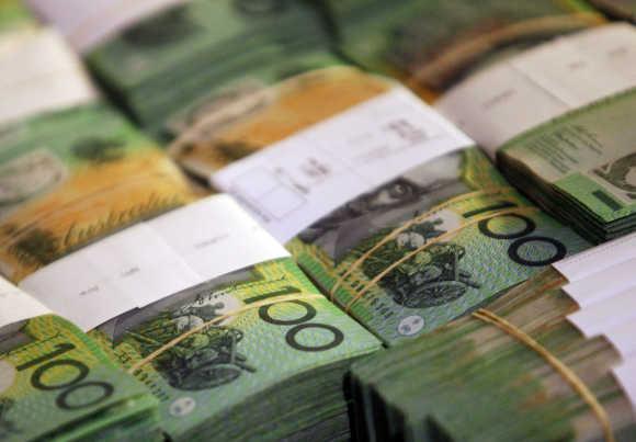 A view of Australian dollars in Sydney.