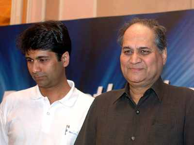 Rajiv Bajaj with his father, Rahul Bajaj