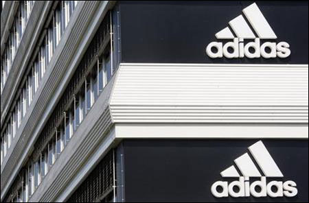 Adidias logos are seen on the company's building in Landersheim near Strasbourg.