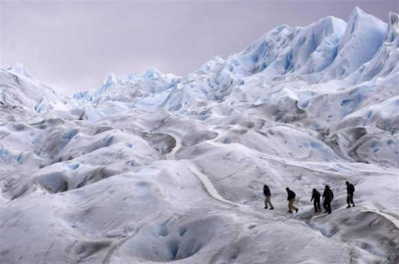 Climbers trek on Argentina's Perito Moreno glacier near the city of El Calafate, in the Patagonian province of Santa Cruz, Argentina.
