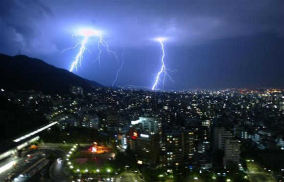 A general view of lightning striking over the city of Kobe in Japan.