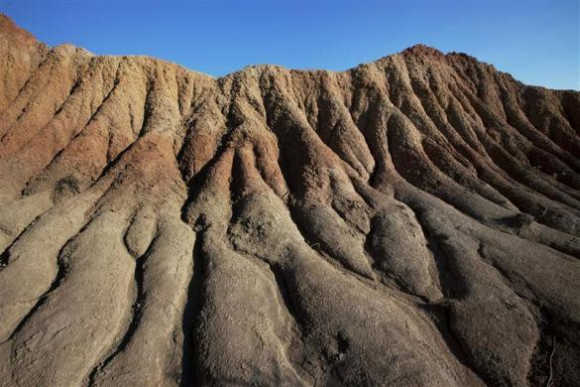 A rock sand formation is seen in the El Cuzco region of the Tatacoa Desert in southwest Colombia.