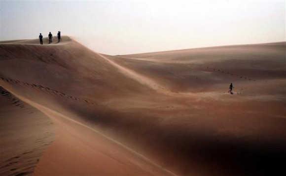 Tourists explore sand dunes in the Mauritanian desert near the capital Nouakchott.