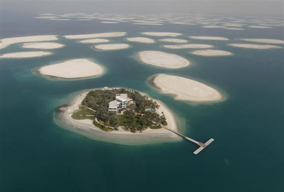 A development is seen on one of the islands of The World Islands project in Dubai.
