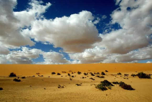 View of the desert near the city of Bourem, nothern Mali.