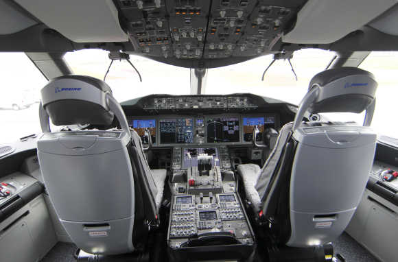 A view of the cockpit interior of the Dreamliner.