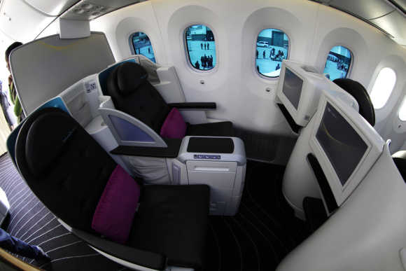 Dimmable windows are seen inside the Dreamliner.