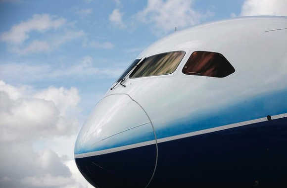 A view of the Boeing 787 Dreamliner.