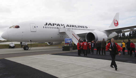 The first of two 787 Dreamliner jets that Boeing delivered to Japan Airlines.
