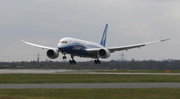 Boeing's Dreamliner aircraft lands.