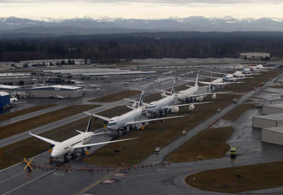 A line-up of Boeing 747s and 787 Dreamliners.