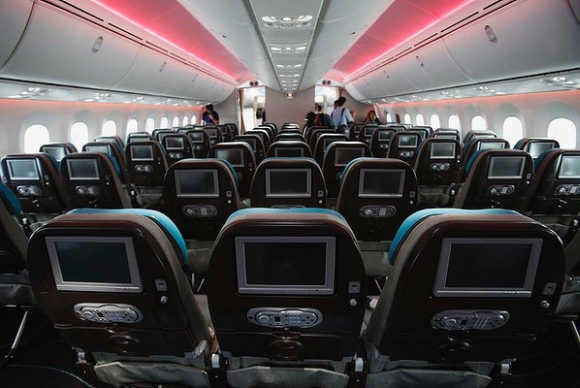 A view of the economy-class inside the Dreamliner.