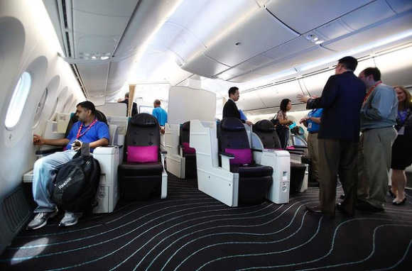 The business-class cabin inside the Dreamliner.