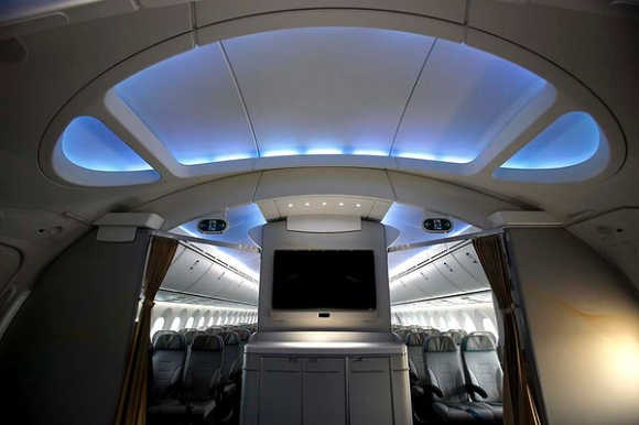 The archway of the Boeing 787 Dreamliner is pictured during a demonstration flight of the aircraft at the Singapore Airshow.