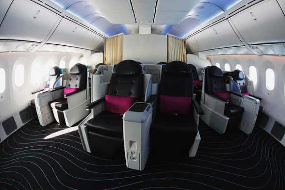 A view of the business-class cabin.