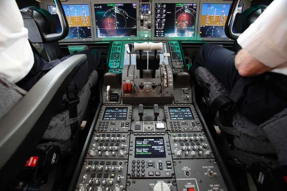 Cockpit controls are seen as test pilots navigate during a demonstration flight of the Boeing 787 Dreamliner.