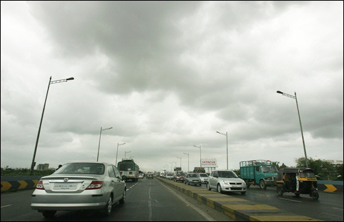Rain clouds gather over western express highway in Mumbai.