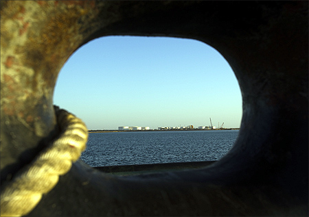 A general view of an oil dock is seen from a ship at the port of Kalantari in the city of Chabahar.