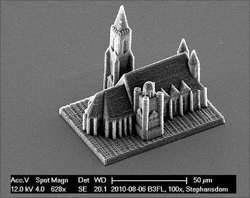 A handout electron microscope photograph shows a nano-scale model of Vienna's St. Stephans cathedral created by a newly developed 3D printing technique for nano structures, made available to Reuters.