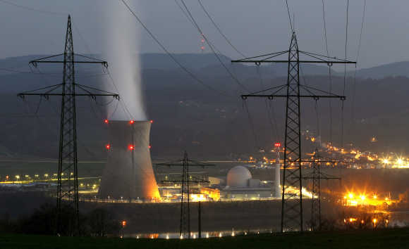 Smoke emerges from a cooling tower at the nuclear power plant in the Swiss town of Leibstadt.