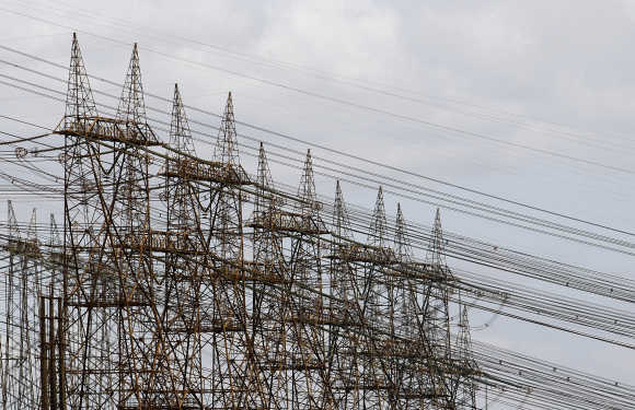 A view of power lines at the Guri dam at the Simon Bolivar Hydroelectric Power Station, in Bolivar, Venezuela.