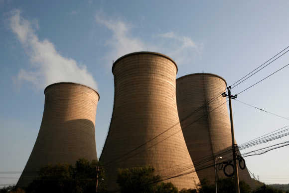 Cooling towers at a thermal power plant.