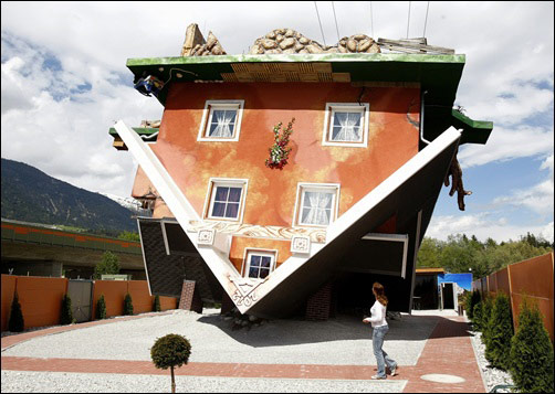 BIG attraction: A house built upside down!