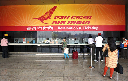 Air India ticket counter.