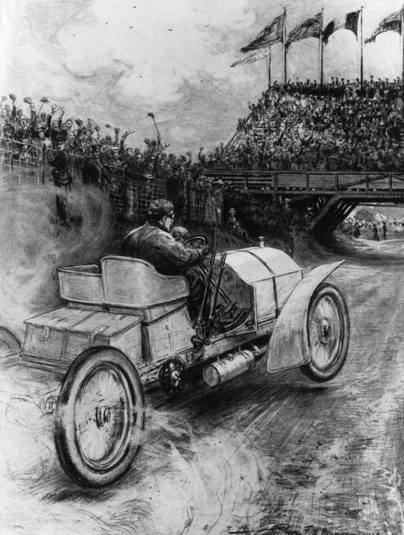 M Jenatzy driving a Mercedes finishes under the grandstand at Ballyshannon, Donegal, Ireland, on July 4, 1903.