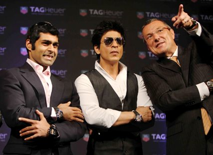 TAG Heuer brand ambassadors (from left) racing driver Karun Chandhok, actor Shah Rukh Khan along with Jean Christophe Babin, president and chief executive officer, TAG Heuer, at the launch of the new TAG Heuer Carrera Monaco Grand Prix Limited Edition Chronograph in Mumbai.