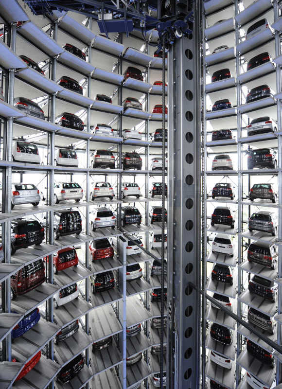 Volkswagen cars are pictured in a delivery tower at the company's headquarters in Wolfsburg, Germany.