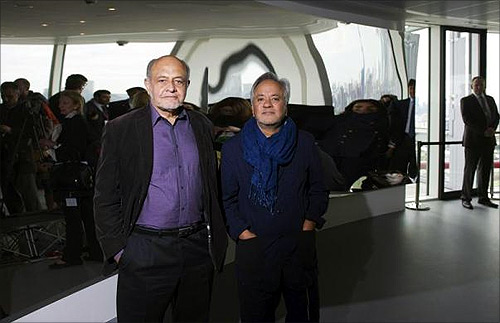 designers of the ArcelorMittal Orbit, Cecil Balmond (L) and Anish Kapoor.
