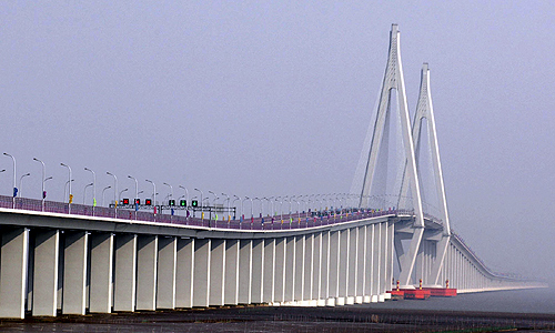 A general view shows the Hangzhou Bay Bridge in Ningbo, Zhejiang.