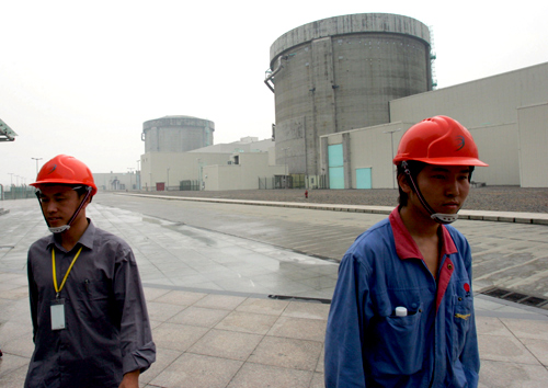 Chinese workers leave the nuclear power plant in Qinshan, China's Zhejiang province.