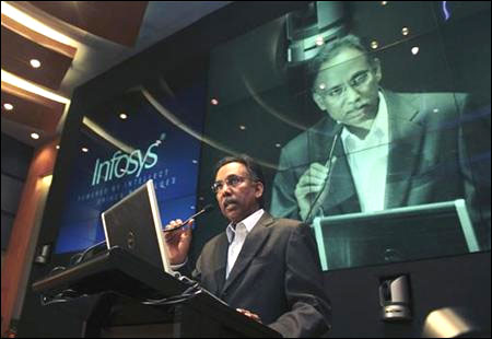 S D Shibulal, chief executive officer of Infosys, speaks during the announcement of the company's quarterly financial results at their headquarters in Bangalore April 13, 2012.