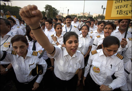 Air India pilots shout slogans.