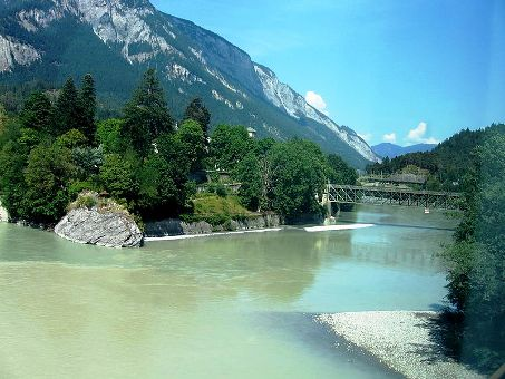 Switzerland Glacier Express bridge river.