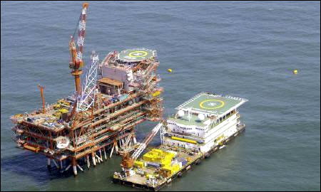 Reliance Industries' KG-D6 control and raiser platform is seen off the Bay of Bengal.