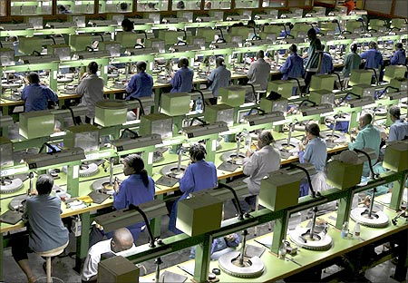 A view of a diamond cutting factory in Botswana's capital Gaborone