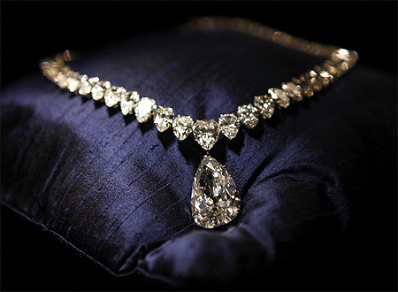 A necklace featuring the Evening Star, a 39 carat, D colour Golconda diamond, estimated to sell for between $3.6 and $5.5 million