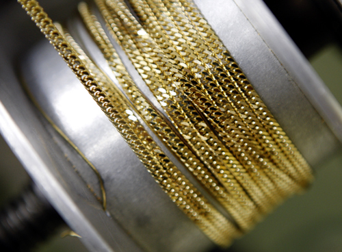 Gold necklace chains are manufactured at Japanese jewellery brand, Ginza Tanaka's original equipment manufacturer (OEM) factory in the Chiba prefecture, east of Tokyo.