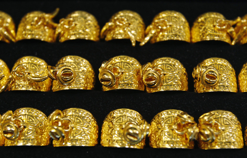 Gold rings are displayed for customers at a jewellery shop in Seoul.