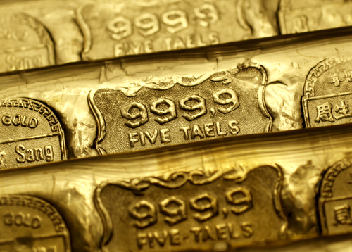 Five-tael (6.65 ounces or 190 grams) gold bars are seen at a jewellery store in Hong Kong.
