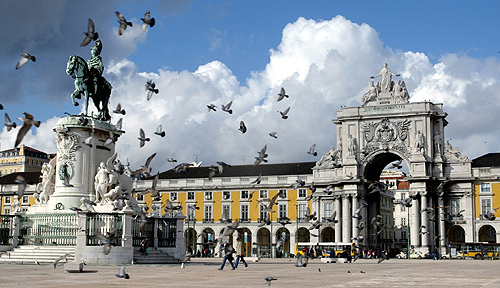 Main square of Lisbon Terreiro do Paco in Portugal