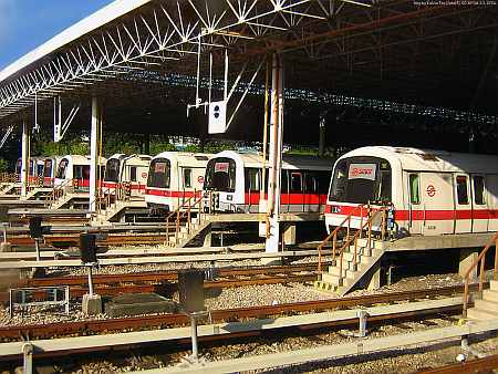 Trains parked at the bay of the Bishan Depot, Reuters