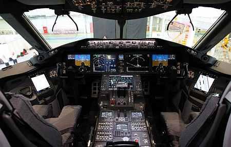 Boeing 787 Dreamliner cockpit.