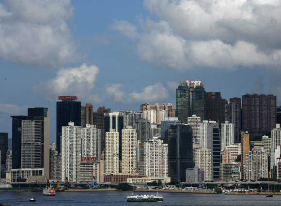 Highrise residential apartments are seen on Hong Kong island.