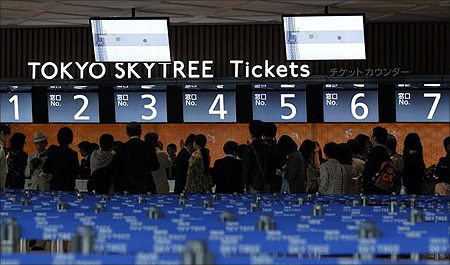 Visitors form a line at the ticket counters of the Tokyo Sky Tree