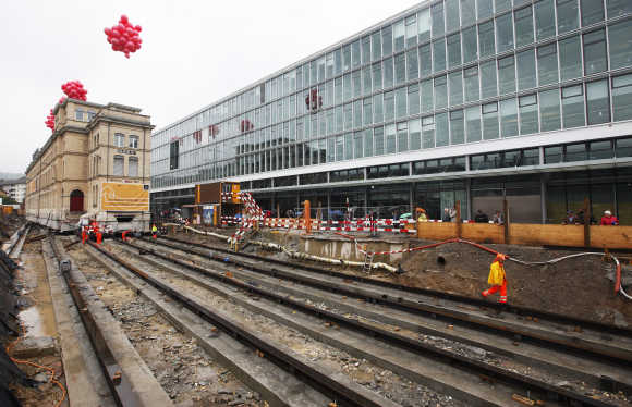 A 123-year-old brick building that was moved from its original location is seen at its final location in Zurich.