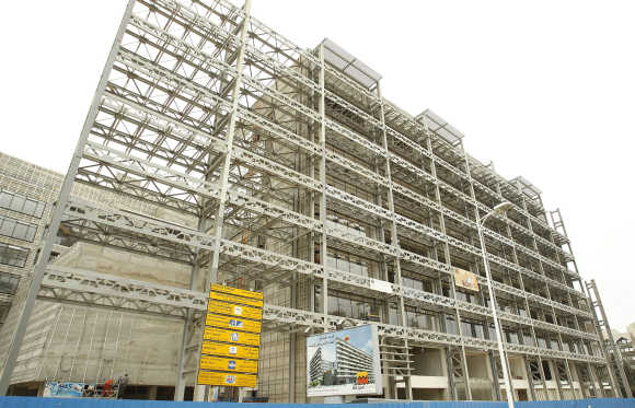 A view of the construction site of Attijari bank in Tunisia.